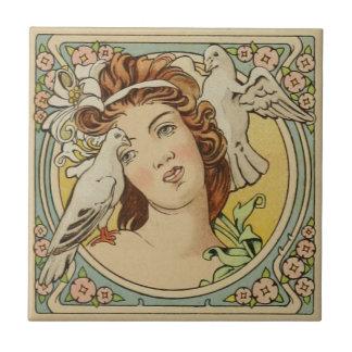 Vintage französische Frauen-Kunst Nouveau Keramik Keramikfliese