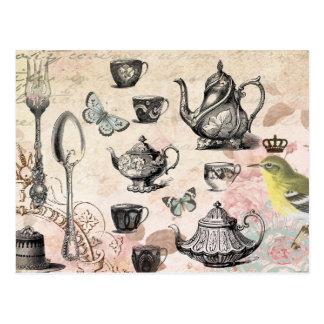 Vintage französische Garten-Tee-Partypostkarte Postkarte