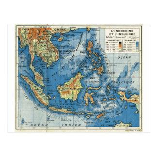 Vintage französische Karte von Indonesien