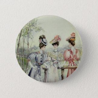 Vintage französische Mode - Weiß, Pfirsich, graues Runder Button 5,1 Cm