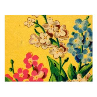 Vintage französische Samen-Kunst-Vergissmeinnichte Postkarte
