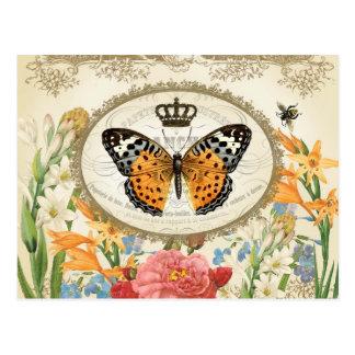 Vintage französische Shabby Chic Buttefly Postkarte