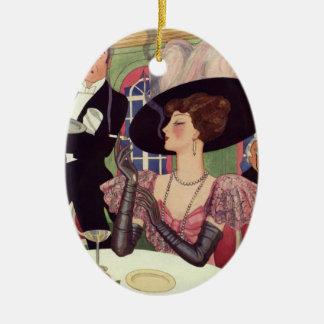 Vintage Frau, die rauchende Zigarette Champagne Keramik Ornament