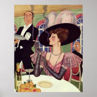 Vintage Frau, die rauchende Zigarette Champagne Poster