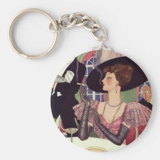 Vintage Frau, die rauchende Zigarette Champagne Schlüsselanhänger