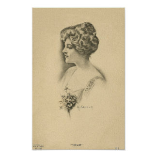 Vintage Frau mit Blumenstrauß Plakatdruck