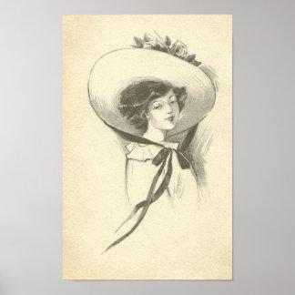 Vintage Frau mit Hut Poster