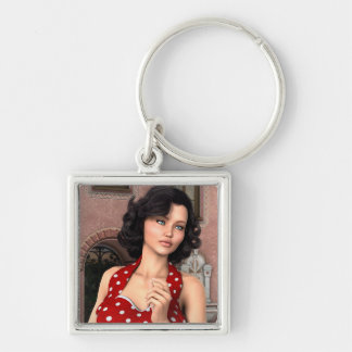 Vintage Frau Schlüsselanhänger