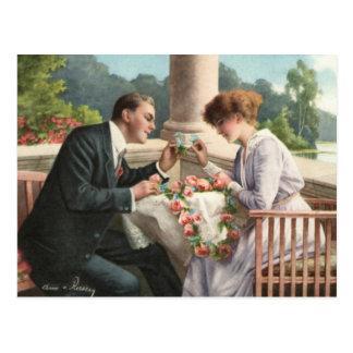 Vintage Frau und Herr, Liebe Postkarte