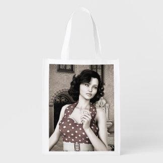 Vintage Frau Wiederverwendbare Einkaufstasche