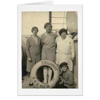 Vintage Frauen auf Ozeandampfer-guter Reise Grußkarte