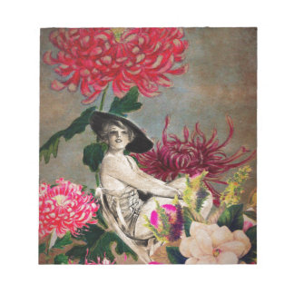 Vintage Frauen-Blumen-Collage Notizblock