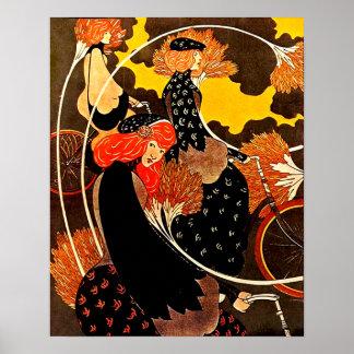 Vintage Frauen, die Bicyles im Herbst reiten Poster