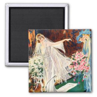 Vintage Frauen Edwardian Hochzeits-Frau Quadratischer Magnet