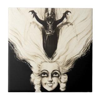 Vintage Frauen-Marionetten-französisches Porträt C Kleine Quadratische Fliese