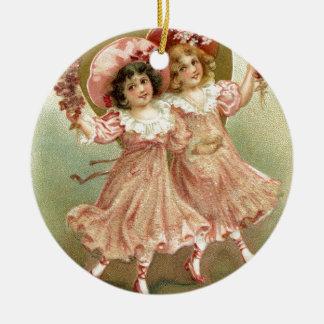 Vintage Freundschaft des Valentines Tages Rundes Keramik Ornament