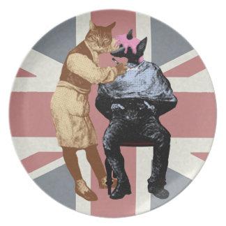 Vintage Friseur-Katze und Hund Flache Teller