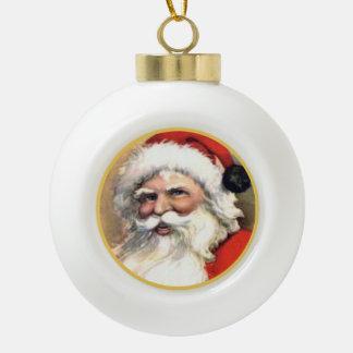 Vintage frohe Sankt-Weihnachten Keramik Kugel-Ornament