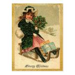 Vintage frohe Weihnacht-Postkarten