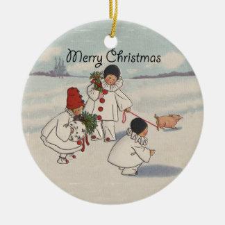 Vintage frohe Weihnacht-Schnee-Kinder Keramik Ornament