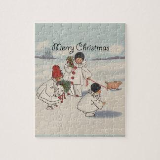 Vintage frohe Weihnacht-Schnee-Kinder Puzzle