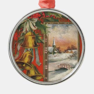 Vintage frohe Weihnachten mit Bell Rundes Silberfarbenes Ornament