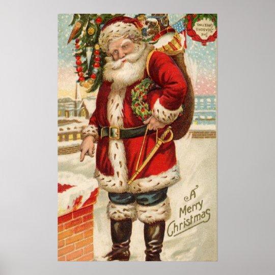 vintage frohe weihnachten sankt poster zazzle. Black Bedroom Furniture Sets. Home Design Ideas