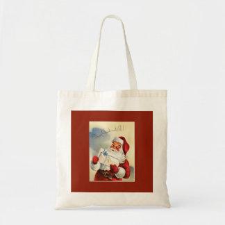 Vintage frohe Weihnachten Sankt zu allen Tragetasche