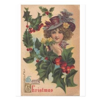 Vintage frohe Weihnachtengibson-Mädchen-Postkarte Postkarte