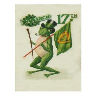 Vintage Froschshillelagh-Rohr-St Patrick Postkarten