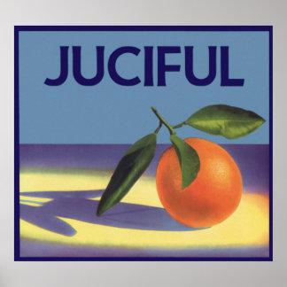 Vintage Frucht-Kisten-Aufkleber-Kunst, Juciful Poster