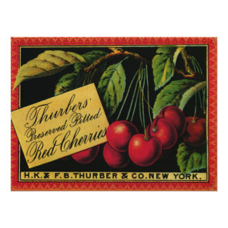 Vintage Frucht-Kisten-Aufkleber-Kunst, Thurber Poster