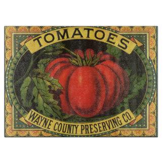 Vintage Frucht-Kisten-Aufkleber-Kunst, Tomaten Schneidebrett
