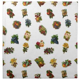 Vintage Früchte u. Blumen Serviette