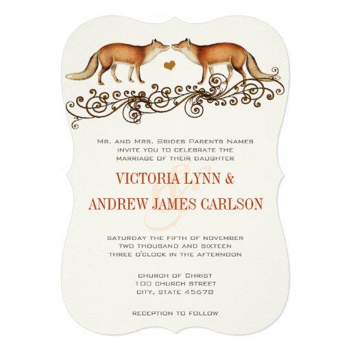 Vintage Füchse, die Einladung Wedding sind