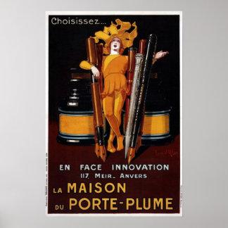 Vintage Füllfederhalter-Anzeige Poster