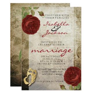 Vintage Garten-Rosen-Hochzeits-Einladung 12,7 X 17,8 Cm Einladungskarte