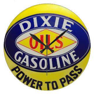 Vintage Gas-Pumpe Dixie ölt Benzin-Auto-Ära Große Wanduhr