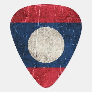 Vintage gealterte und verkratzte Flagge von Laos Plektron