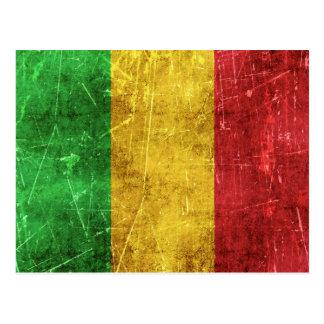 Vintage gealterte und verkratzte Flagge von Mali Postkarte