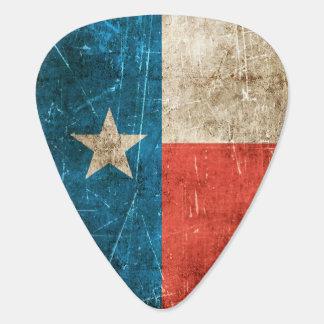 Vintage gealterte und verkratzte Flagge von Texas Plektron