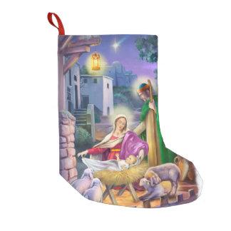Vintage Geburt von Jesus-Szene Kleiner Weihnachtsstrumpf