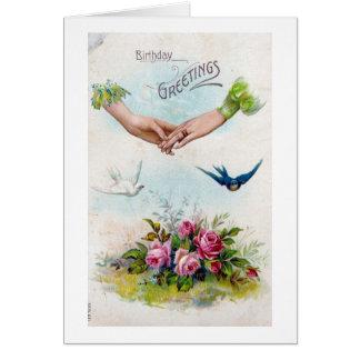Vintage Geburtstags-Gruß-Hände und Vögel Grußkarte