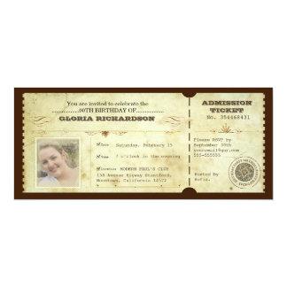 Vintage Geburtstagskarte mit Ihrem Foto 10,2 X 23,5 Cm Einladungskarte
