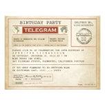 Vintage Geburtstagstelegrammeinladung
