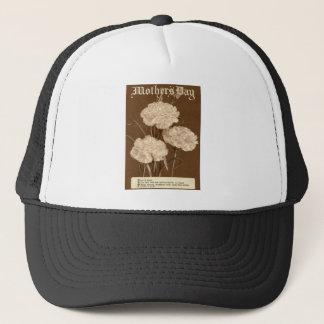 Vintage Gedicht-Pfingstrosen-Weiß-Blume der Mutter Truckerkappe