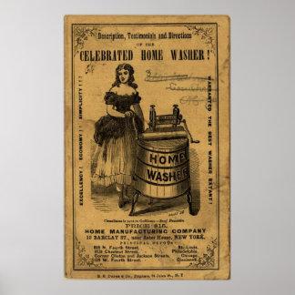 Vintage gefeierte Zuhause-Waschmaschinen-Anzeige Poster