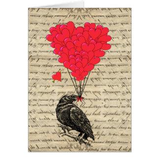 Vintage geformte Ballone der Krähe und des Herzens Karte