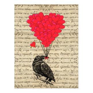 Vintage geformte Ballone der Krähe und des Herzens Postkarte