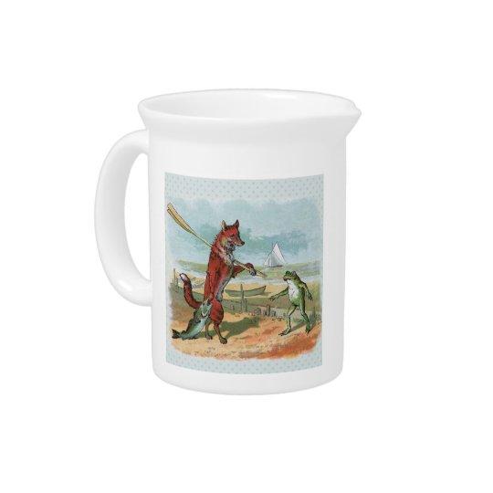 Vintage gehende Fischerei des Fuchses und des Getränke Pitcher